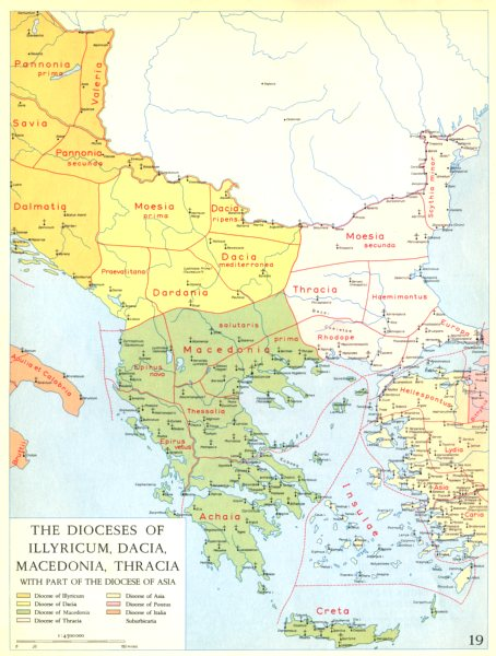 Associate Product CHRISTIANITY.Dioceses of Illyricum,Dacia,Macedonia,Thracia Asia 1958 old map