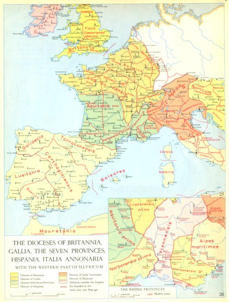 Associate Product CHRISTIANITY.Dioceses Britannia,Gallia,Hispania,Annonaria Illyricum 1958 map