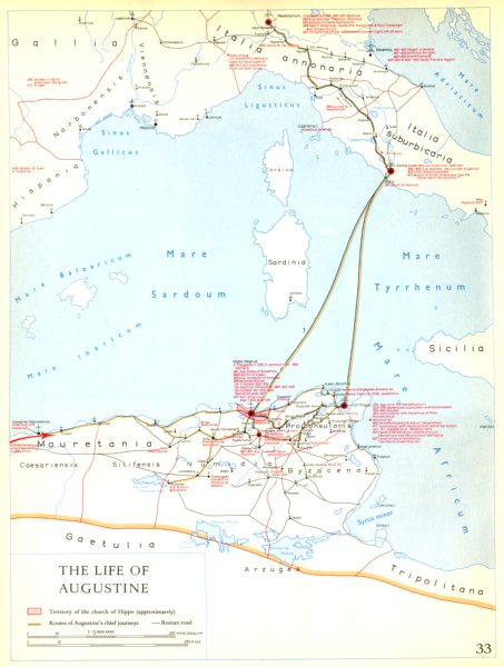 Associate Product CHRISTIANITY.The Life of Augustine 1958 old vintage map plan chart