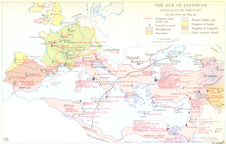 Associate Product CHRISTIANITY.The Age of Justinian especially in the east 1958 old vintage map
