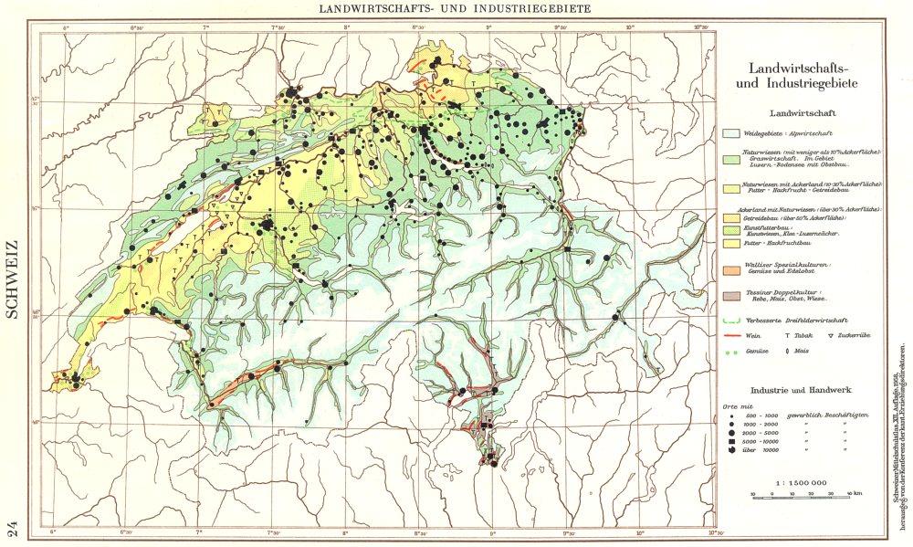 Associate Product SWITZERLAND.Schweiz;LandWirtschaft Economy Industriegebiete 1958 old map