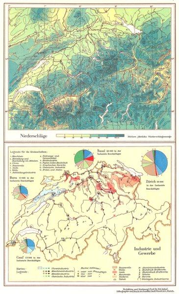 Associate Product SWITZERLAND.Schweiz;niederschlage rainfall;Industrie und Gewerbe 1958 old map