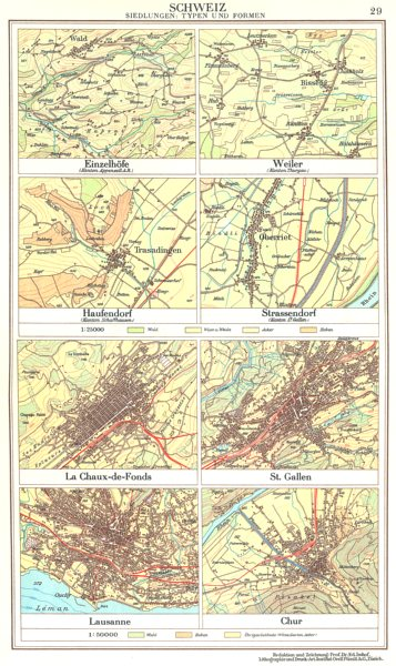 Associate Product SWITZERLAND.Schweiz.Einzelhofe,Haufendorf,Strassendorf;Lausanne;Chur 1958 map