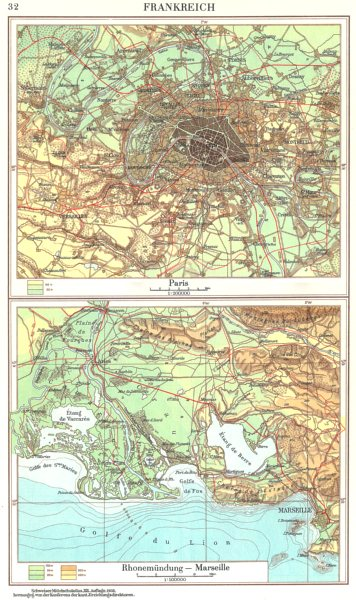 Associate Product FRANCE.Frankreich;Paris;Rhonemundung-Marseille 1958 old vintage map plan chart