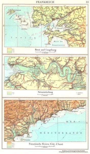 Associate Product FRANCE.Frankreich;Brest;Seinemundung Seine estuary;Riviera-Cote d'Azur 1958 map