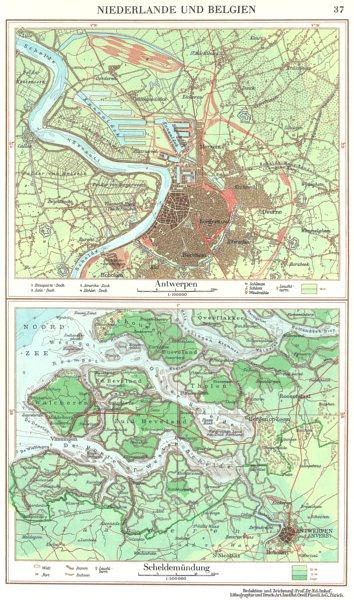 Associate Product BELGIUM.Niederlande Belgien;Antwerpen;Scheldemundung;Antwerp 1958 old map