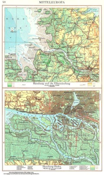 Associate Product GERMANY.Hamburg Elbe estuary Elbemundung;Hamburg-Hafen 1958 old vintage map