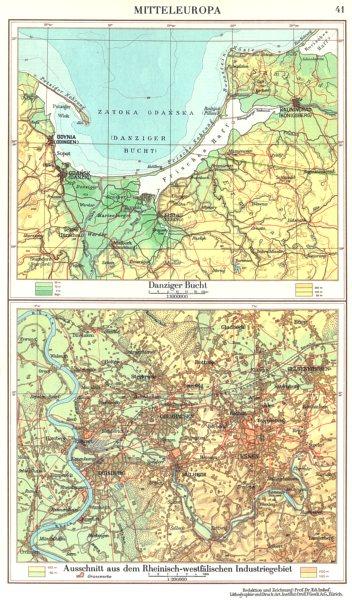 Associate Product POLAND.Danzig Gdansk; Rheinisch-westfalischen Industriegebiet 1958 old map
