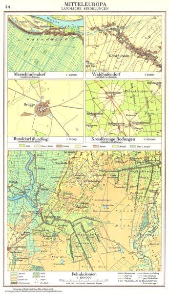 Associate Product GERMANY.Landliche;Bremen;Chemnitz;Berlin;Munchen;Fehnkolonien 1958 old map