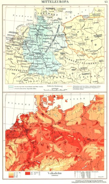 Associate Product CENTRAL EUROPE.Mitteleuropa;Volksdichte population density 1958 old map