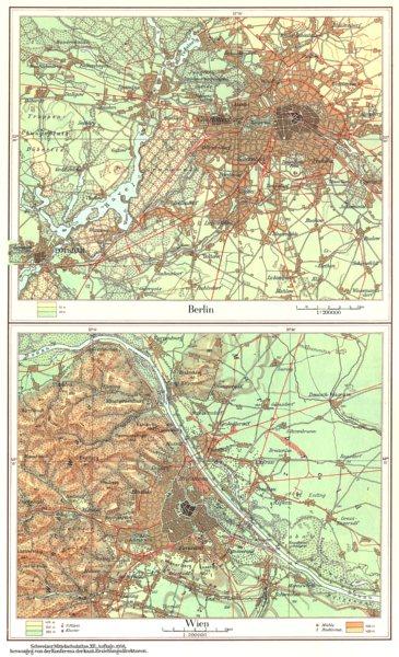 Associate Product BERLIN VIENNA.Mitteleuropa. Germany Austria. Berlin;Wien;Vienna 1958 old map