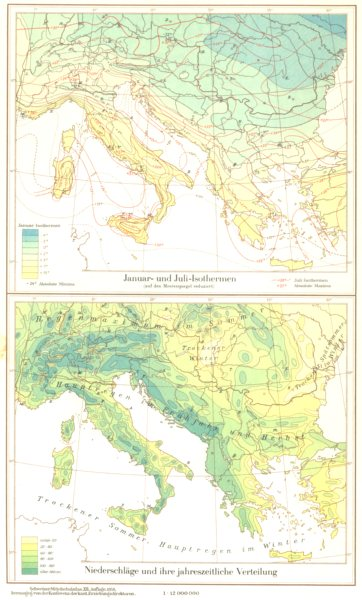 Associate Product SUDOSTEUROPA.Isothermen;niederschlagejahreszeitliche Verteilung 1958 old map