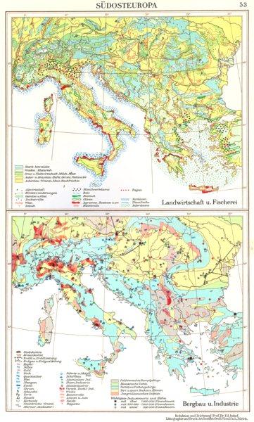 Associate Product SUDOSTEUROPA.Landwirtschaft Agriculture Fischerei;Bergbau Industrie 1958 map