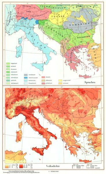 Associate Product EUROPE.Sudosteuropa;Sprachen Language;Volksdichte population density 1958 map