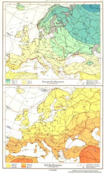 Associate Product EUROPE.Europa;Januar-Isothermen;Juli-Isothermen.January July Isotherms 1958 map