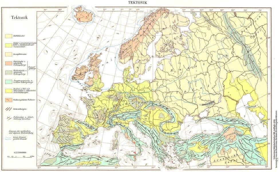 Associate Product EUROPE.Europa;Tektonik. Tectonic Geological 1958 old vintage map plan chart