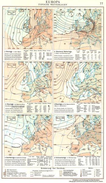 Associate Product EUROPA.Wetterlagen;Fohnlage;Staulage;Bisenlage;Gewitterlage 1958 old map