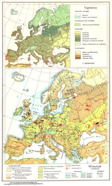 Associate Product EUROPE.Europa;Wirtschaft Economy Vegetation 1958 old vintage map plan chart