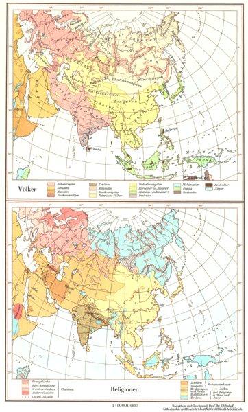 Associate Product ASIA.Asien;Volker Race;Religionen Religion 1958 old vintage map plan chart