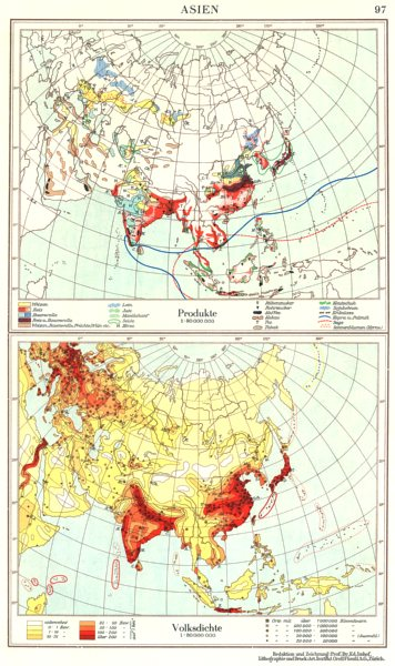 Associate Product ASIA.Asien;Produkte Production;Volksdichte population density 1958 old map