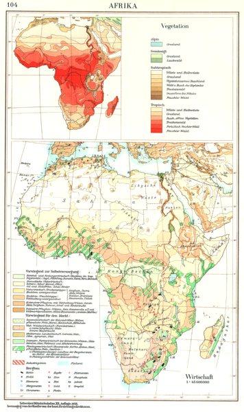 Associate Product AFRICA.Afrika; Vegetation; Wirtschaft Economy 1958 old vintage map plan chart