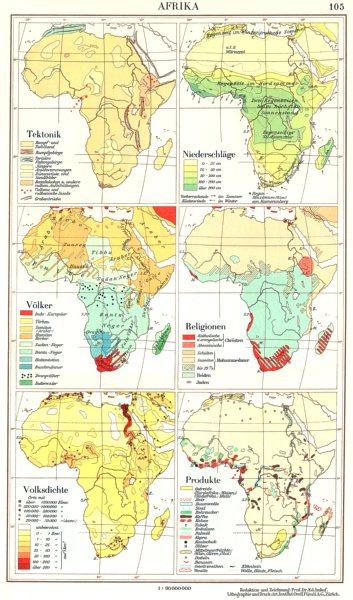 Associate Product AFRIKA.Tektonik;niederschlage;Volker;Religionen;Volksdichte;Produkte 1958 map