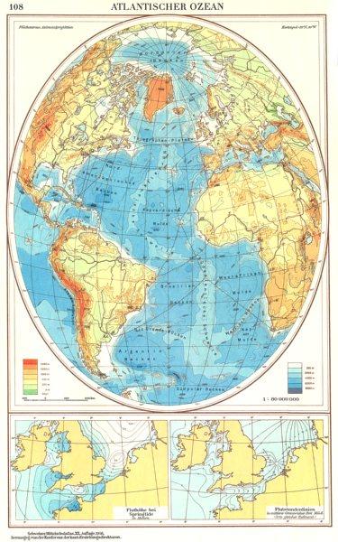 Associate Product ATLANTIC.Atlantischer Ozean;Fluthohe bei Springtide;Flutstundenlinien 1958 map