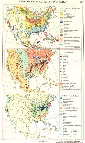 Associate Product NORTH AMERICA.Vereinigte Staaten Mexiko USA Industrie Bergbau Produkte 1958 map
