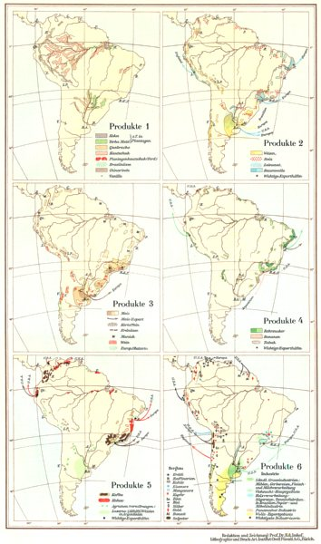 Associate Product SOUTH AMERICA.Sudamerika;Produkte Agricultural products commodities 1958 map