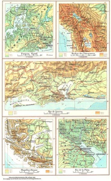Associate Product SOUTH AMERICA.Sudamerika;Panama Kanal;Titicacasees;Rio Janeiro;Plata 1958 map