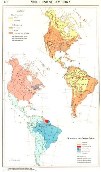 Associate Product AMERICAS.Nord-Sudamerika;Volker;Sprachen Language Kolonisten 1958 old map