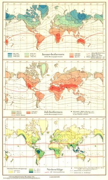 WORLD.Erde.Klima;Januar-Isothermen;Juli-;niederschlage rainfall 1958 old map
