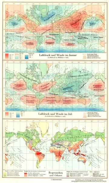 Associate Product WORLD.Erde.Klima;Luftdruck Winde Januar;Juli;Regenzeiten Orkane 1958 old map