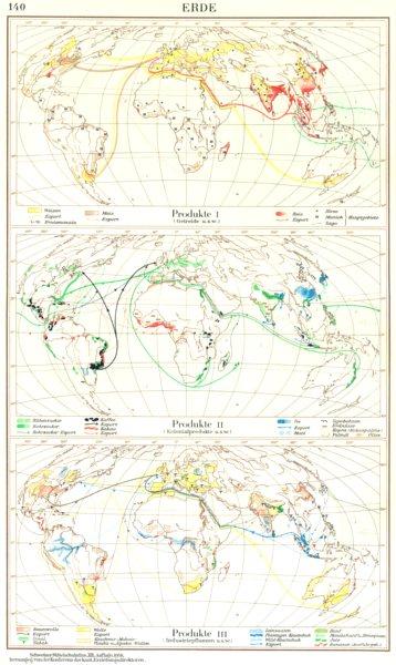 Associate Product ERDE.Produkte Getreide Kolonialprodukte; Production Industriepflanzen 1958 map