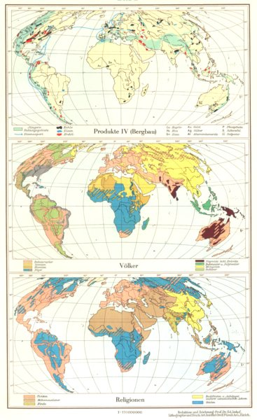 Associate Product WORLD.Erde;Produkte Production Bergbau;Volker Race;Religionen Religion 1958 map