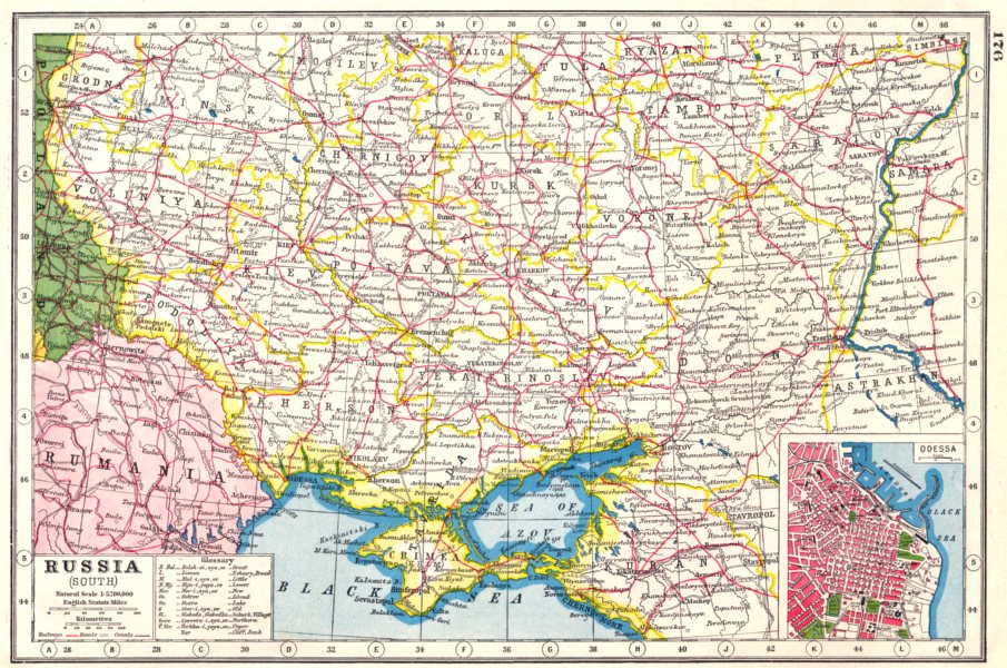 HARMSWORTH 1920 old vintage map chart UKRAINE Russia South; inset Odessa