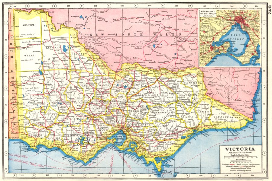 Victoria In Australia Map.Details About Victoria Australia Inset Plan Of Melbourne And Port Philip 1920 Old Map