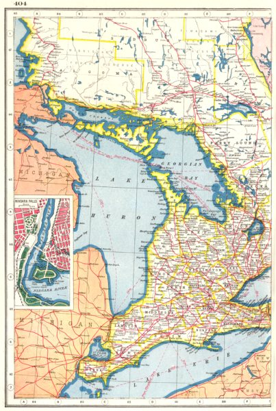 Details About Ontario West Great Lakes Huron Erie Georgian Bay Niagara Falls Plan 1920 Map