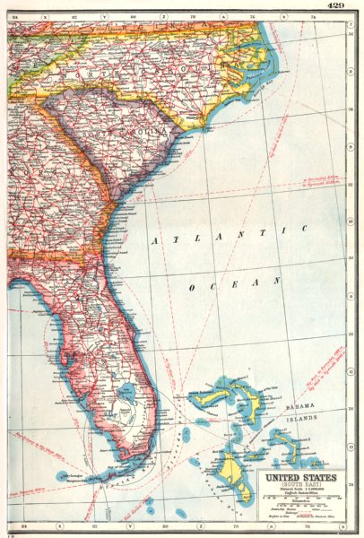 Details about USA. South East. Florida North Carolina South Carolina  Georgia 1920 old map