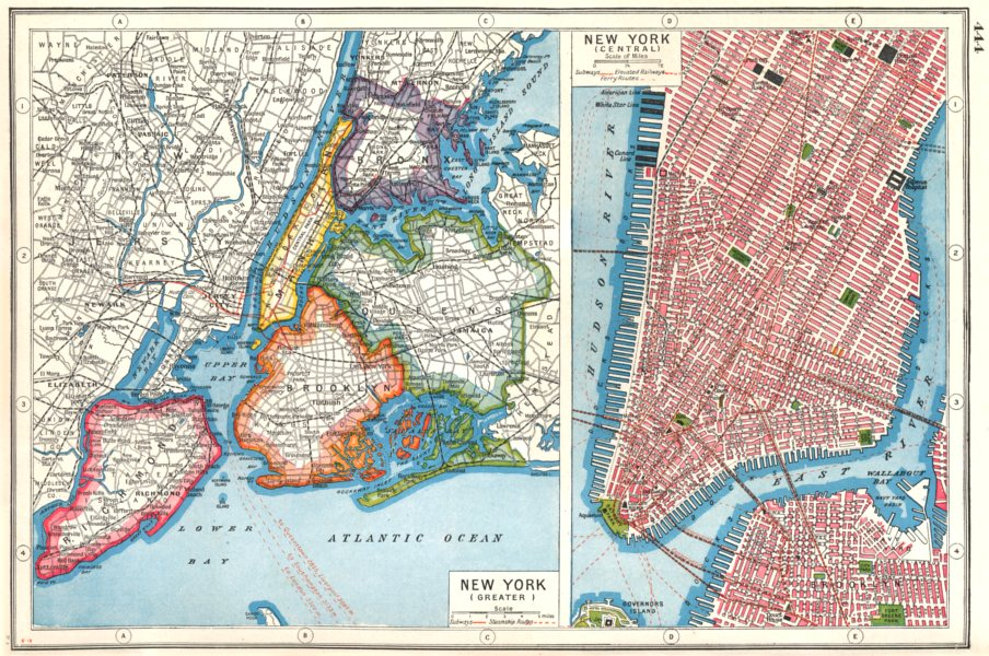 Map Of New York Bronx.Details About New York City Nyc Lower Manhattan Queens Bronx Brooklyn Richmond 1920 Map