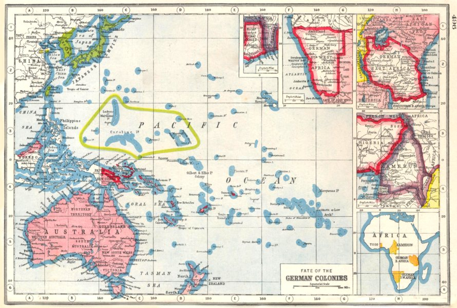 Details about WORLD WAR 1.Fate of German Colonies;Namibia Cameroon Benin  Tanzania 1920 map