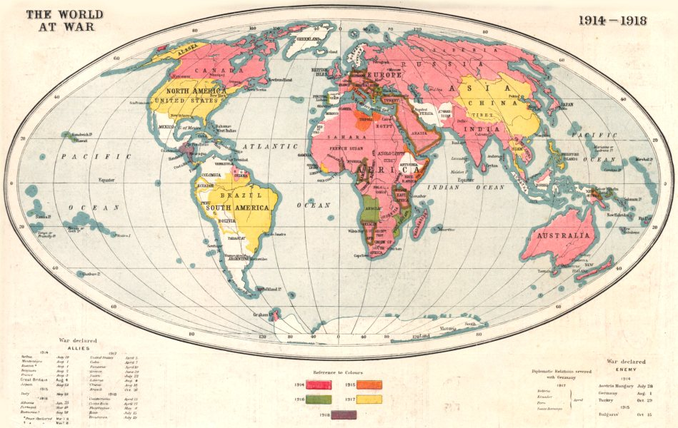 Details about FIRST WORLD WAR.World at War 1914-1918; shows year of entry  into war 1920 map