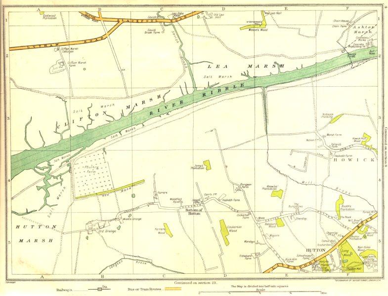 Associate Product LANCS.Clifton Marsh,Lea Marsh,Howick,Hutton,Hutton Marsh, River Ribble 1935 map
