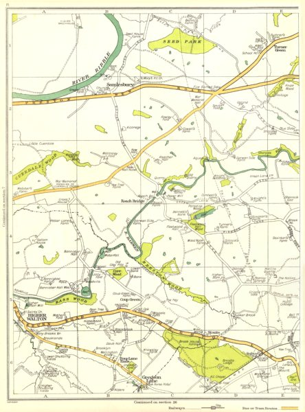 Associate Product LANCS.Samlesbury,Turner Green,Rass Wood,Higher Walton,Gregson Lane 1935 map