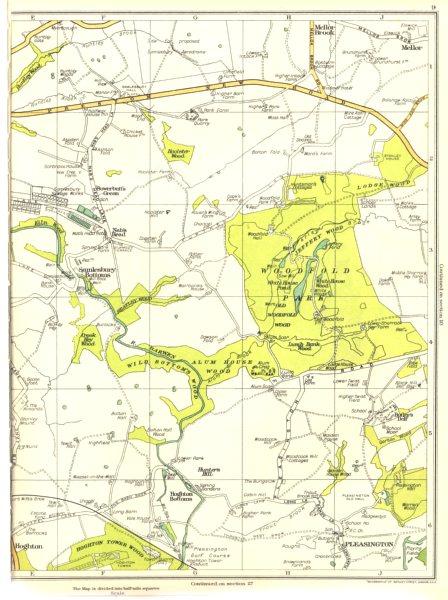 LANCASHIRE.Samlesbury Bottoms,Wood,Hunter's Hill,Hoghton,Crook Hey 1935 map