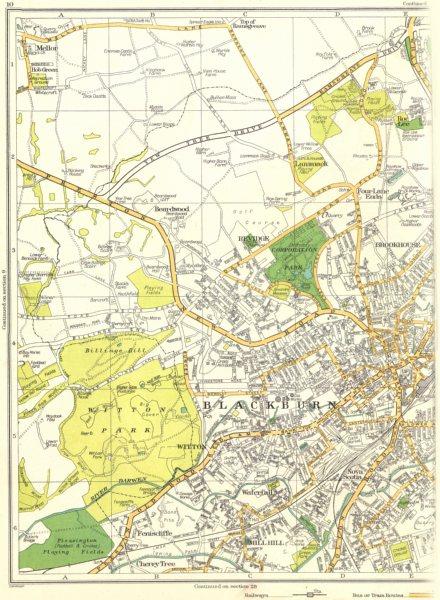Associate Product BLACKBURN.Witton,Nova Scotia,Feniscliffe,Revidge,Lammack 1935 old vintage map