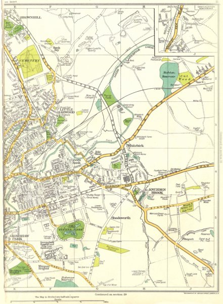 Associate Product BLACKBURN.Grimshaw Park,Whitebirk,Little Harwood,Brownhill 1935 old map