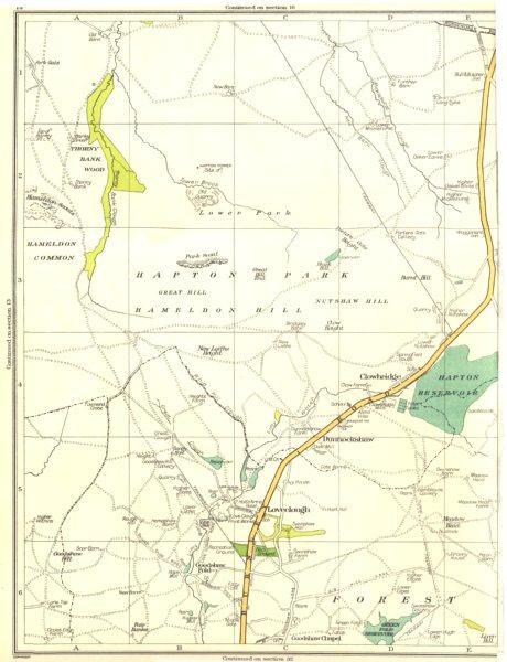 Associate Product LANCS.Clowbridge,Dunnockshaw,Loveclough,Goodshaw Reservoir,Burnt Hill 1935 map