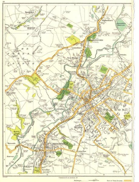 Associate Product NELSON.Brierfield,Little Marsden,Belle,Wheatley Lane,Barrowford 1935 old map