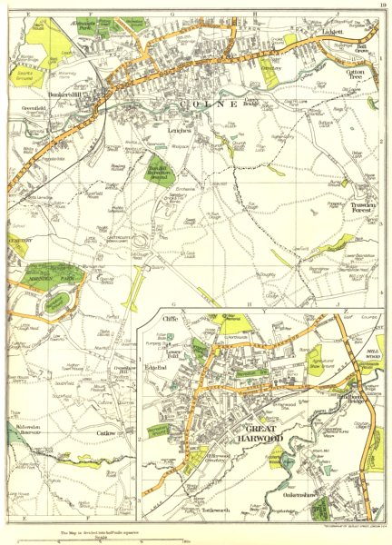Associate Product LANCS.Colne,Bunker's Hill,Great Harwood,Catlow,Lenches,Trawden Forest 1935 map